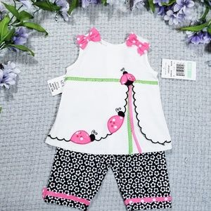 Rare Editions pink lady bug bow Summer outfit